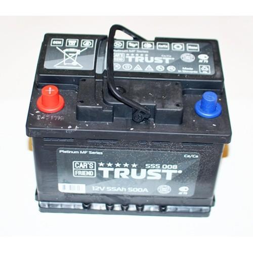 аккумулятор 55Ач п/п trust (5лет гар) 500а